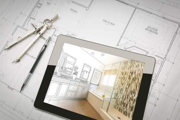 modern architectural design using tablet