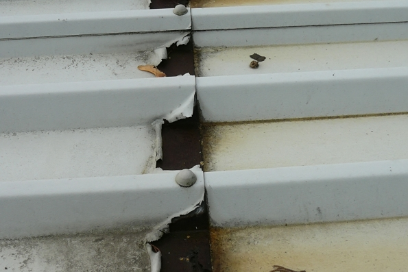 corrosion to edges of roof sheets
