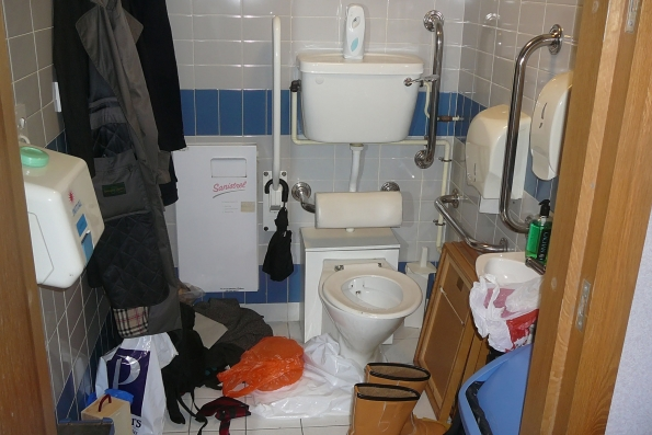 accessible WC used as store